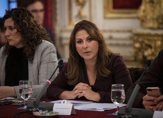 La diputada provincial Isabel Moreno durante su intervención en el Pleno de enero de 2018 de la Diputación